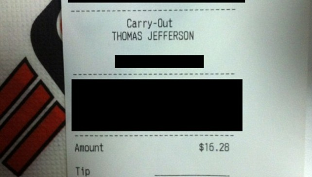 6 year old boy buys pizza with his dads credit card… but dads signature he put was so cute.