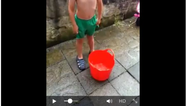 Ice Bucket Challenge by a 6 Year old Boy to Raise Money for his Mother's Cancer Treatment.