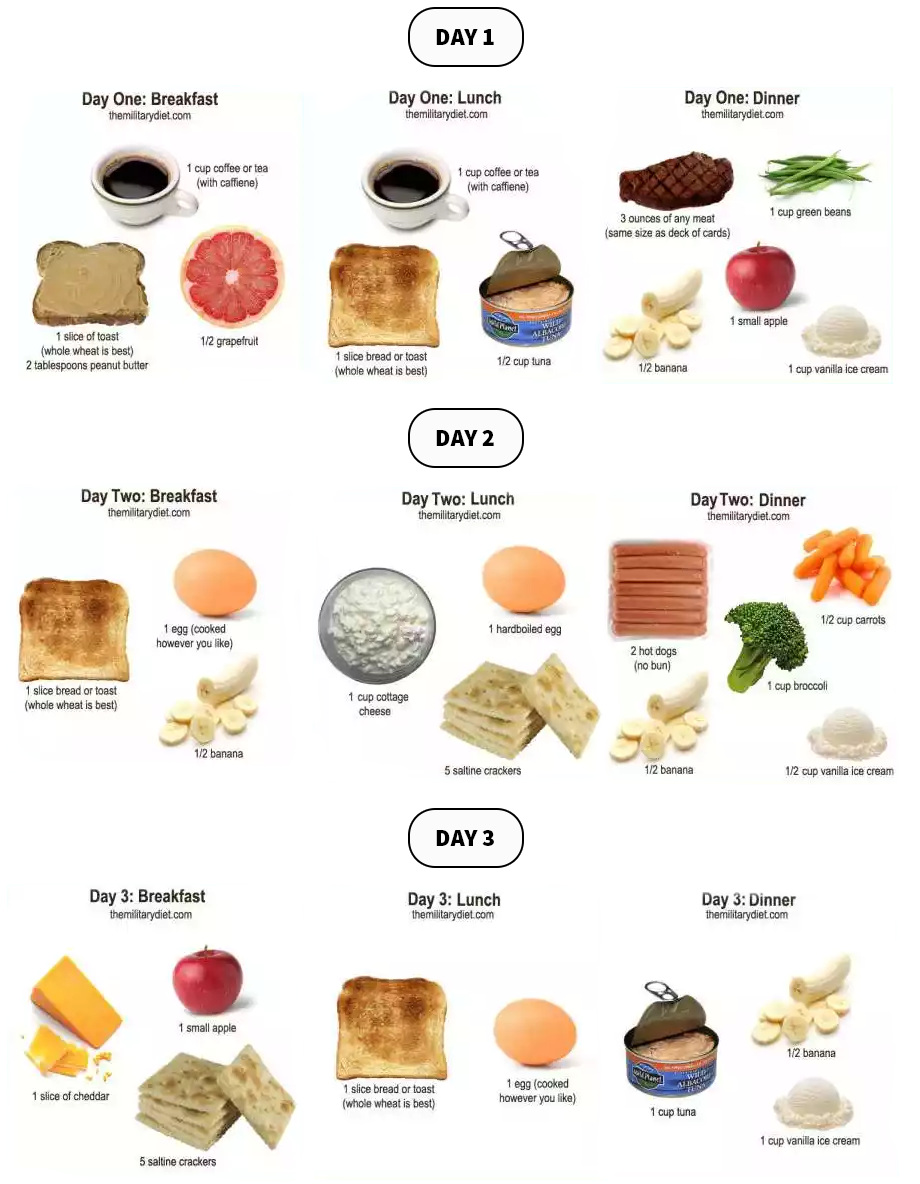 Military Diet Chart